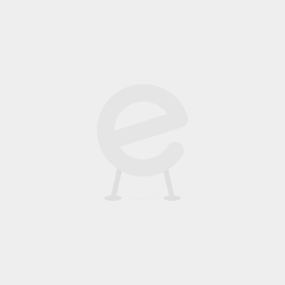 Halbhochbett Charlotte mit Schreibtisch und Regalen - taupe