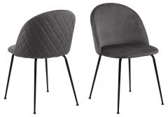 Louise dining chair Dublin - dark grey, matt black - set of 2