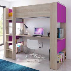 BO5 High sleeper bed with desk Oak/Fuchsia