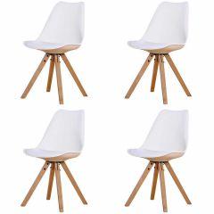 Set mit 4 Stühlen Chic - weiß