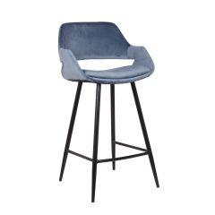 Barhocker 'Dorian' Velvet Blue (H-Sitz 75cm) - 2er-Set