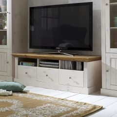 Tv unit MONACO 710 - TV stand with 3 drawers - WHITE WASH/PROVONCE