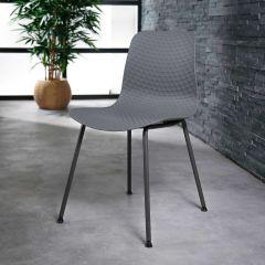 Stuhl PP pulverbeschichtetes Gestell - Set von 4 - Grau
