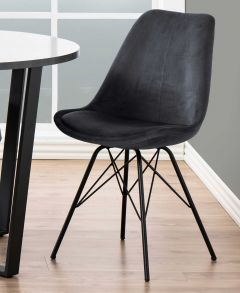 Eris dining chair - dark grey, black - set of 2