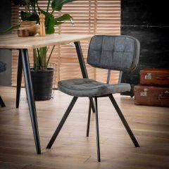 Esszimmerstuhl aus PU-Wachs mit Kreuzstich und offenem Rücken - Set von 4 - Wax PU Schwarz