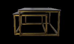 Quadratischer Couchtisch Finnley - 70x70 cm - schwarz waschbar / Antikgold - 2er-Set