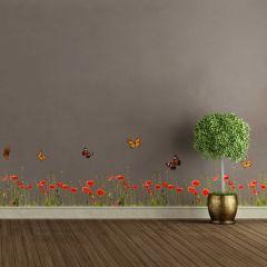 Wandaufkleber Mohn & Schmetterlinge - dekorative Bordüre