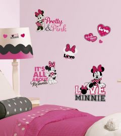 RoomMates Wandsticker - Minnie loves pink