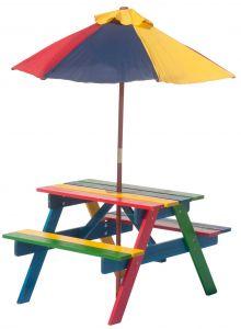 Kinderpicknicktisch Rainbow mit Sonnenschirm