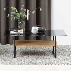Okaya coffee table,glass table - black, smoke