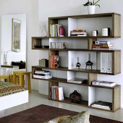 Bücherschrank Lissabon 2 - Nussbaum/weiß