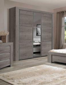 SARLAT - Armoire 3 portes Châtaignier gris