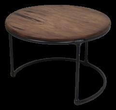 Beistelltisch - ø70 cm - Metall / Recycling-Java-Holz