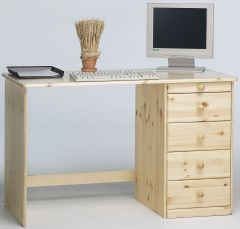 Desk KENT 271 - Desk with 1+4 drawers - NATURAL LACQUER