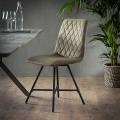 Stuhl Diamant Flachrohr - Set von 4  - Champagner velvet