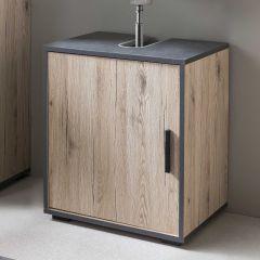 Bad Adria - Waschbecken Unterschrank 45 cm breit mit 1 Tür - Korpus Eiche Sand Dekor, Absatz Graphit