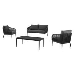 Parka lounge set alu charcoal olefin rope+ cush