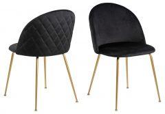Louise dining chair Dublin - black, brass - set of 4