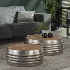 Couchtisch Set - 2 Holz Tischplatte - Stahl - Antike Nickel