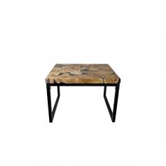 Couchtisch - 70x70 cm - schwarzes Harz - Teak / Eisen