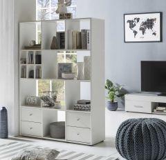 Regal Raumteiler mit 4 Schubladen und 13 Fächern - Melamin Dekor Weiß
