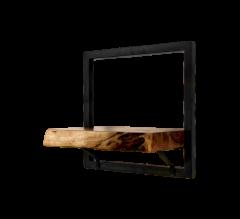 Wandregal Ebenen Live Edge - 32x32 cm - Akazie / Eisen