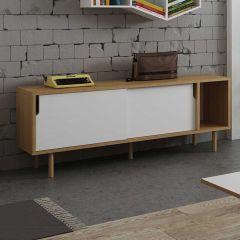 Sideboard Danny - weiß/Eiche - Holzbeine