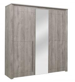 Hayden Kleiderschrank 205 cm 3 Türen und Spiegel - Eiche hellgrau