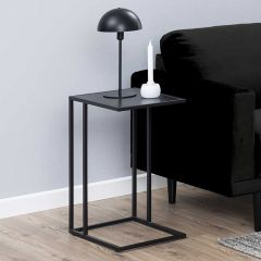 Seaford laptop table - matt black, black ash