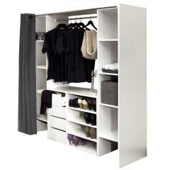 Kleiderschrank Spike - weiß/grau