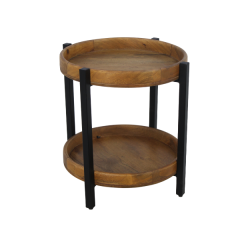 Couchtisch Hudson - 45x45 cm - Mangoholz / Eisen