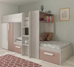 BO1 Bunk Bed 200cm with base White/ Antque Pink