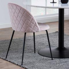Louise dining chair Dublin - light pink, matt black - set of 2