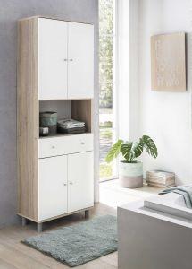 Hochschrank 4-trg. mit 1 offenen Fach und 1 großen Schublade - Sonoma Eiche / Weiß Melamin Dekor