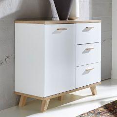 Ousmane Kommode 96cm mit 1 Tür und 3 Schubladen - weiß/Eiche