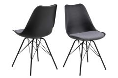 Eris dining chair - light grey, black - set of 2