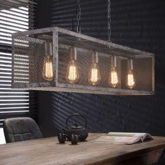 Hängelampe Rechteck Raster mit 5 Lampe - Alt Silber Finish