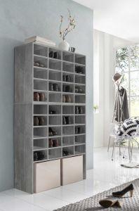 Schuh- und Wohnregal mit 40 Fächern - Beton Melamin Dekor