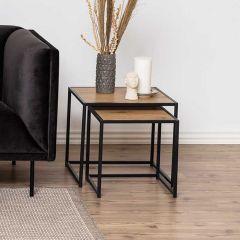 Seaford nest of tables 2 pcs. - matt black, wild oak