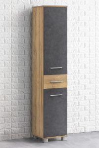 Seitenschrank mit 2 Türen und 1 Schublade Bad Kao - Korpus Alteiche Melamin Front Graphit Dekor