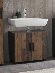 Bad Casa - Waschbecken Unterschrank mit 2 Türen, stehende und hängende Montage möglich - Korpus Graphit Dekor und Front Old Style Dekor Melamin