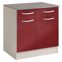 Unterteil Löffel 80 cm mit 2 Schubladen und 2 Türen - glänzend rot