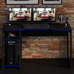 Gaming-Schreibtisch Vanos 136cm - schwarz/blau