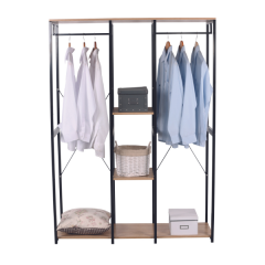 Kleiderständer Kato 2 Stangen - Metall/Massivholz