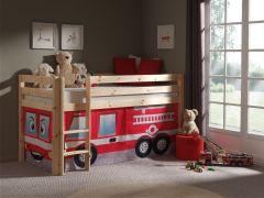 Halbhochbett Charlotte natur mit Spielzelt Feuerwehr