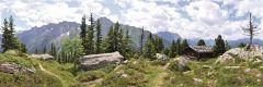 Leinwand Berghütte 50x100cm