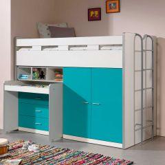Bonny 70er Halbschwelle mit Schreibtisch, Kommode und Kleiderschrank - türkisfarben