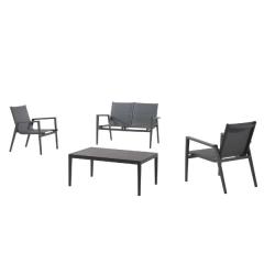 Kona lounge set alu charcoal textylene silver grey