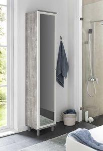 Hochschrank 1-trg. mit großem Spiegel - Beton / Weiß Melamin Dekor