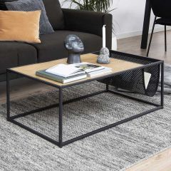 Seaford coffee table - matt black, wild oak